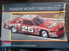Monogram NASCAR Tim Richmond Folgers Monte Carlo Stock Car Model Kit OPE... - $12.59