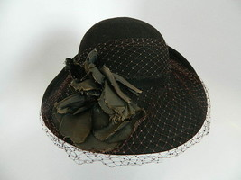 Vintage Womens Betmar 100% Wool Black Hat  Union Made USA - $27.99