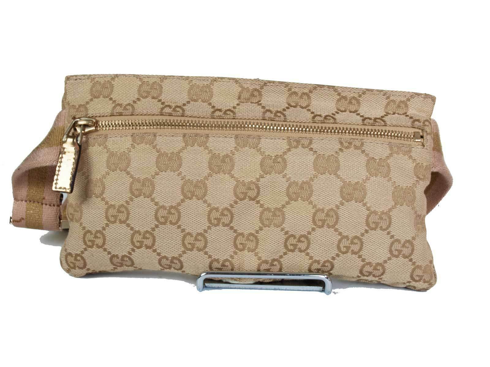 Authentic Gucci GG Pattern Canvas Leather Browns Waist Belt Bag GW1808