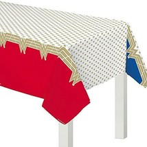 """Wonder Woman Classic"" Red and Gold Plastic Party Table, Cover 54"" x 96"" - $6.44"