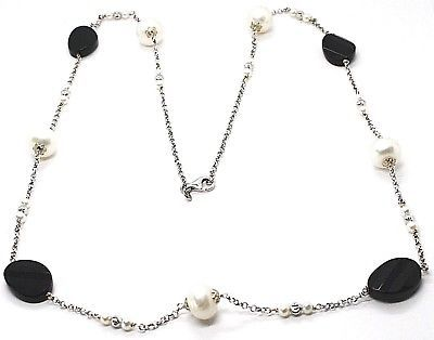 Silver 925 Necklace, Onyx Black Oval Faceted, Pearls, 80 cm, Chain Rolo '