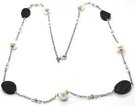 Silver 925 Necklace, Onyx Black Oval Faceted, Pearls, 80 cm, Chain Rolo ' image 1