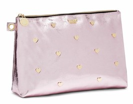 Victoria's Secret Metallic Crackle Heart Beauty Pouch Pink NWT - $35.77
