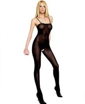 New Leg Avenue Women's Opaque Bodystocking with Spaghetti Straps Black 8208
