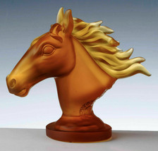 Cristal de Paris French Glass Figurine HORSE HEAD AMBER France NEW - $1,350.00