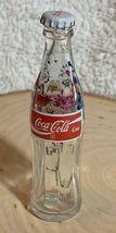 Thailand Coke Coca-Cola Mini Miniature dried Blue Flowers crystal glass bottle image 3