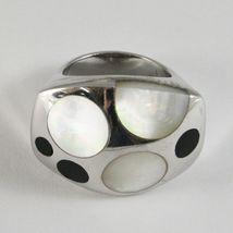 Ring aus Silber 925 Rhodium A Fscia mit Perlmutt Weiß und Politur Schwarz image 3