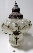 Vintage Hanging Irridescent Swag Lamp Light Fixture Brass Applied Floral - $296.95
