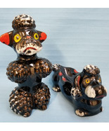 Poodle Dogs Vintage Japan Terracotta Black Ashtray & Sitting Figurines 1... - $54.95