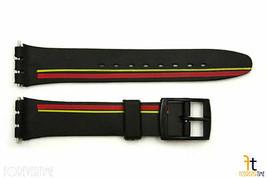 12mm da Donna Rosso / Giallo Stripes Nero Orologio con Cinturino per Swatch - $8.91