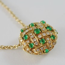 18k YELLOW GOLD NECKLACE WITH CABOCHON GREEN EMERALD AND DIAMONDS BUTTON PENDANT image 1