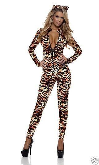 Sexy Seductive Stripes Tiger Print Catsuit Jumpsuit Costume 2pc Set