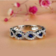 2.00 Ct Round Cut Blue Sapphire 14K White Gold Finish Infinity Wedding Band Ring - £64.12 GBP