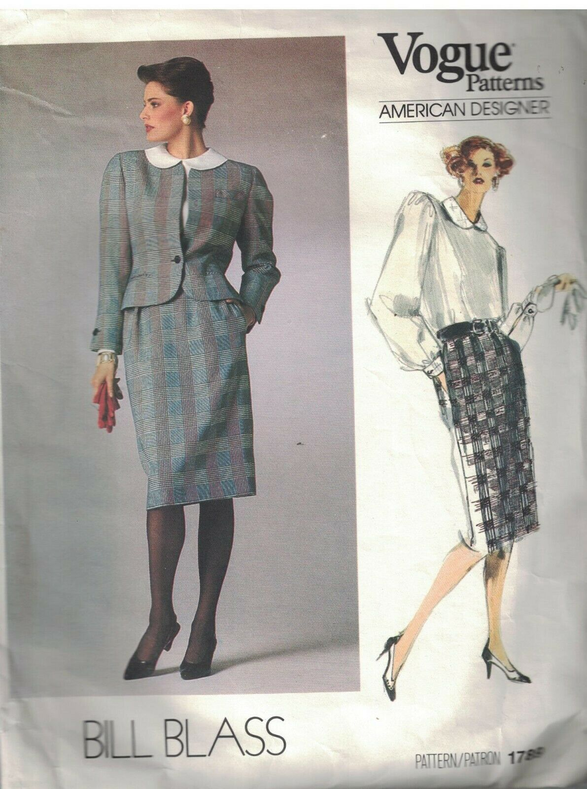 1789 Vogue Nähen Muster Misses Jacke Rock Bluse Bill Blass Amerikanisch Design