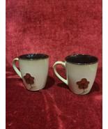 Pfaltzgraff Studio Set of 2 Mugs Aster Coffee Mug Brown Red Flower - $8.90