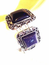 Vintage Handmade Silver Finish Genuine Blue Goldstone Toggle Bracelet - $39.60