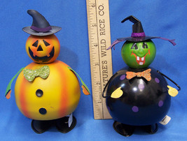 Halloween Bobble Dancing Figurines Painted Metal Witch & Pumpkin Decorat... - $15.83