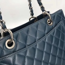 RARE AUTH CHANEL BLUE QUILTED CAVIAR GST GRAND SHOPPING TOTE BAG image 5