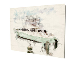 Deep Sea Fishing Boat Water Color Design 16x20 Aluminum Wall Art - $59.35