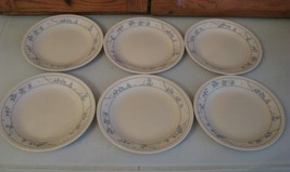 """6 Bread & Butter Plates 6 3/4"""" Corelle FIRST OF SPRING Blue Stems White ... - $9.89"""