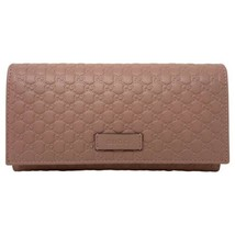 New Gucci Pink Leather Micro GG Guccissima Bifold Wallet Clutch Card Cas... - $327.25
