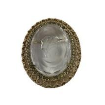 Vintage Rhinestone Gold Tone Reverse Cut Beveled Crystal Cameo Pin Brooch - $11.87