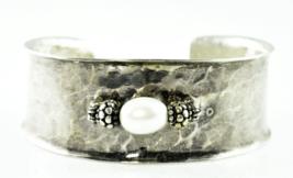 "Sterling Silver Silpada Fresh Water Pearl Hammered Cuff Bracelet 27mm 7""... - $79.19"