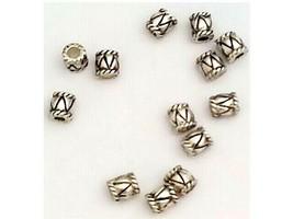 Silver Spacer Beads, Barrel Shape, Set of 12
