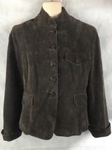 Anne Klein Women Suede Leather Sz S Jacket Blazer Button Brown Lined - $16.30