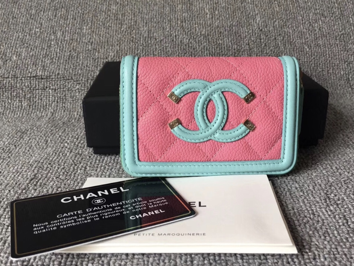 NEW AUTH CHANEL 2019 QUILTED CAVIAR MULTI COLOR ZIP AROUND WALLET