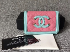 NEW AUTH CHANEL 2019 QUILTED CAVIAR MULTI COLOR ZIP AROUND WALLET  image 1