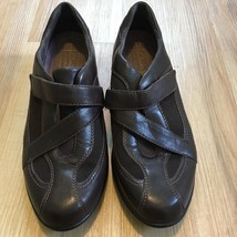 CLARKS Everyday Dark Brown Leather Adjustable Criss Cross Strap Shoes Wo... - $23.70