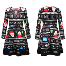 Womens Fit and Flare Long Sleeve Christmas Patterned Skater Dress Casual... - $31.98