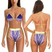 Women's Push Up Padded High Waist Ethnic Print Bikini Swimwear Set image 9