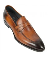 Men's Handmade Tan Leather toned dress loafers shoes Unique Custom shoes - $159.99
