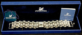 Swarovski Crystal Bracelet Double Row Rectangular Stones in Box Art Deco Design - $249.99