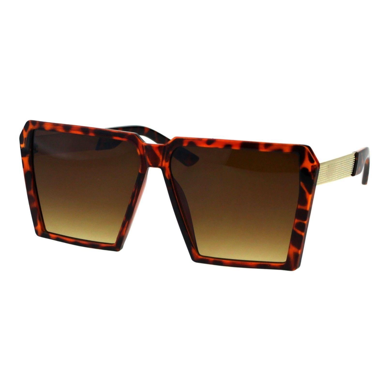 Womens Super Oversized Sunglasses Square Trapezoid Frame UV 400