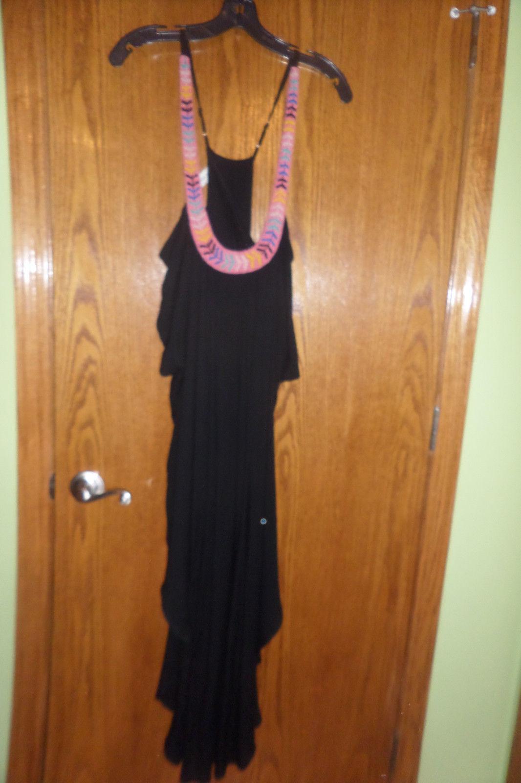 $348 MARA HOFFMAN ANTHROPOLOGIE BEADED BLACK LONG CAFTAN DRESS SIZE XS/S image 4