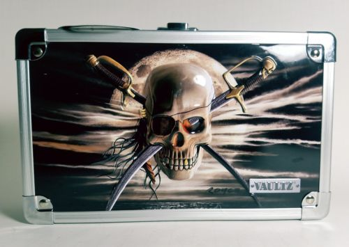 "Vaultz Locking Supply Box, 5"" x 2.5"" x 8.5"", Embossed Pirate Skull w/ swords"