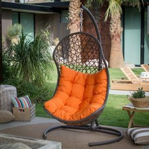 Outdoor Hanging Egg Chair Stand & Cushion Patio Porch Wicker Basket Swin... - $411.73
