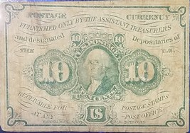 1862 10C Cent Washington Paper U.S. Fractional Postage Currency Note Civ... - $59.95