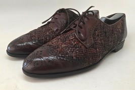 Bragano By Cole Haan Men's Brown Leather Weaved Wingtip Oxfords Size 11M  Italy - $74.20