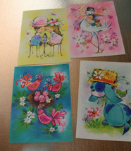 Vintage Greeting Cards Unused 4 Cards in Box Animals Children Cute - $20.90