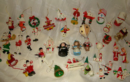 Vtg 1980s WOODEN CHRISTMAS ORNAMENTS Handmade Hand Painted Taiwan Lot 38 - $40.00