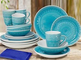 Fez 16 Piece Dinnerware Set in Turquoise by Euro Ceramica - $96.97