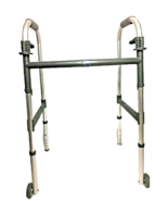 Invacare Dual Release Folding Walker Aluminum / Fixed Wheels (Adjustable... - $34.60