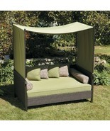 Outdoor Day Bed Green Wicker Cabana Patio Furniture with Canopy and Pillows - £489.97 GBP