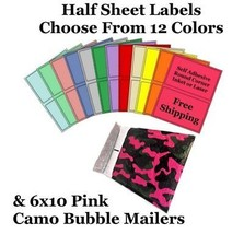 6x10 Pink Camo Poly Bubble Mailers + Half Sheet Self Adhesive Shipping L... - $2.99+