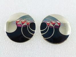 """Laurel Burch """"Celestial Birds"""" Black Red Blue Enamel Silver-Tone EARRINGS - £19.18 GBP"""