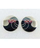 """Laurel Burch """"Celestial Birds"""" Black Red Blue Enamel Silver-Tone EARRINGS - £19.11 GBP"""